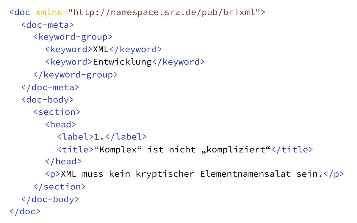 Ausschnitt aus einem Beispiel-Code von brixML