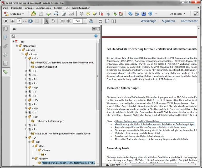 Screenshot von Adobe Acrobat mit Anzeige der Tag-Struktur