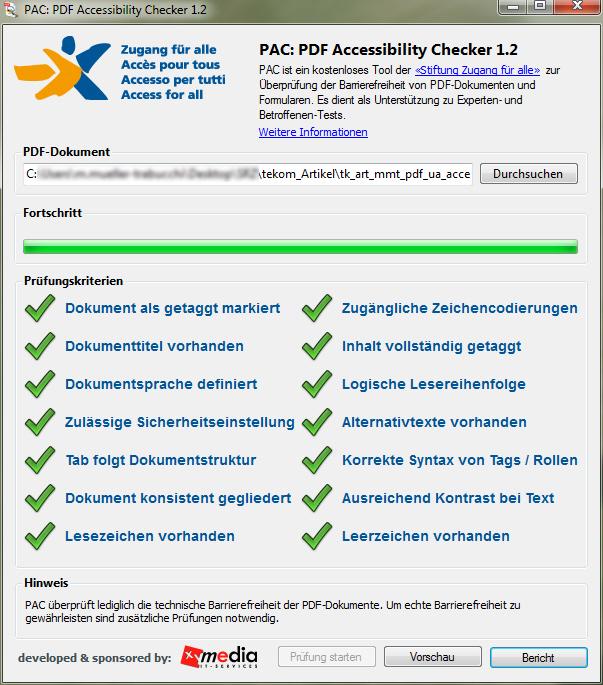 Screenshot des Tools PDF Accessibility Checker 1.2