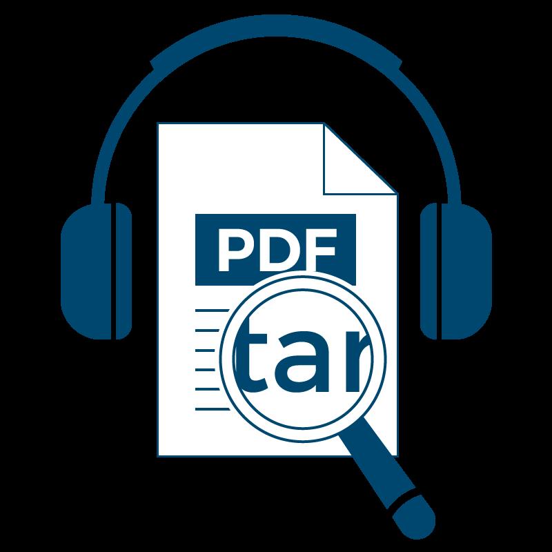 Ein PDF-Dokument mit Kopfhörern und einer Lupe, die Text vergrößert