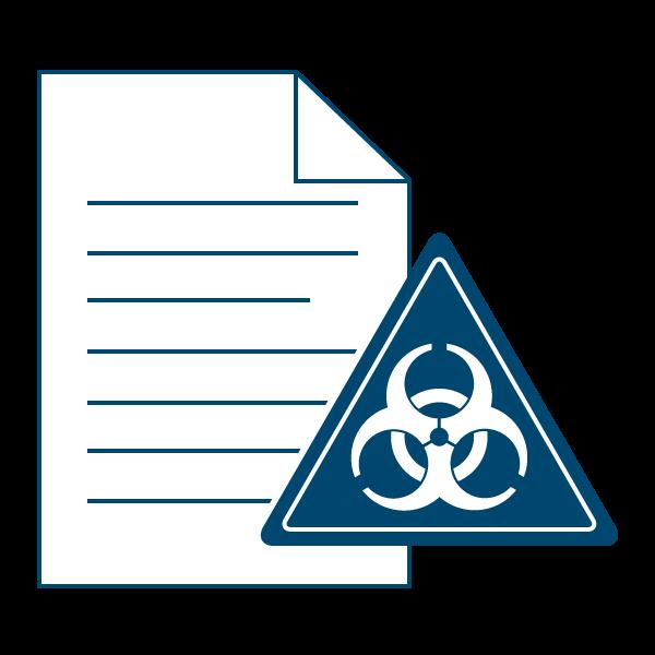 Ein Dokument mit einem Warnsymbol für biologische Gefahrenstoffe