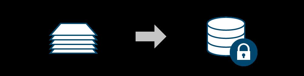 Ein Papierstapel, von dem ein Pfeil auf eine Datenbank zeigt
